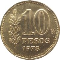 reverse of 10 Pesos (1976 - 1978) coin with KM# 72 from Argentina. Inscription: 10 PESOS 1978