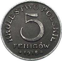 reverse of 5 Fenigow (1917 - 1918) coin with Y# 5 from Poland. Inscription: KROLESTWO POLSKIE 5 FENIGÓW 1918