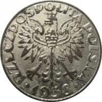 obverse of 50 Groszy (1938) coin with Y# 38 from Poland. Inscription: RZECZPOSPOLITA POLSKA ♦1938♦