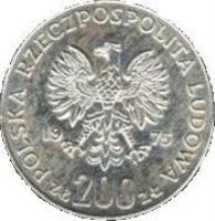 obverse of 200 Złotych - Victory Over Fascism (1975) coin with Y# 79 from Poland. Inscription: POLSKA RZECZPOSPOLITA LUDOWA ZŁ 200 ZŁ