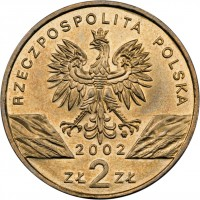 obverse of 2 Złote - European Swamp Turtle (2002) coin with Y# 427 from Poland. Inscription: RZECZPOSPOLITA POLSKA 2002 ZŁ 2 ZŁ
