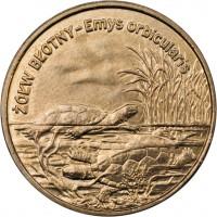 reverse of 2 Złote - European Swamp Turtle (2002) coin with Y# 427 from Poland. Inscription: ŻÓŁW BŁOTNY - Emys orbicularis