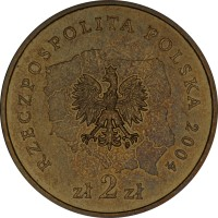 obverse of 2 Złote - Lubelskie (2004) coin with Y# 514 from Poland. Inscription: RZECZPOSPOLITA POLSKA 2004 zł 2 zł