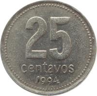 reverse of 25 Centavos (1993 - 1996) coin with KM# 110a from Argentina. Inscription: 25 CENTAVOS 1994