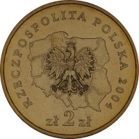 obverse of 2 Złote - Opolskie (2004) coin with Y# 607 from Poland. Inscription: RZECZPOSPOLITA POLSKA 2004 zł 2 zł