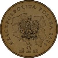 obverse of 2 Złote - Podkarpackie (2004) coin with Y# 490 from Poland. Inscription: RZECZPOSPOLITA POLSKA 2004 zł 2 zł