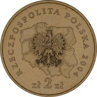 obverse of 2 Złote - Slaskie (2004) coin with Y# 493 from Poland. Inscription: RZECZPOSPOLITA POLSKA 2004 zł 2zł