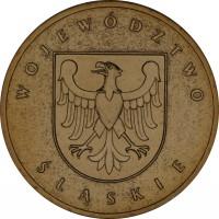 reverse of 2 Złote - Slaskie (2004) coin with Y# 493 from Poland. Inscription: WOJEWÓDZTWO SLASKIE
