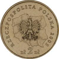 obverse of 2 Złote - Zachodniopomorskie (2005) coin with Y# 563 from Poland. Inscription: RZECZPOSPOLITA POLSKA 2005 zł 2 zł