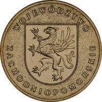 reverse of 2 Złote - Zachodniopomorskie (2005) coin with Y# 563 from Poland. Inscription: WOJEWÓDZTWO ZACHODNIOPOMORSKIE