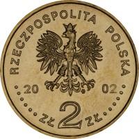 obverse of 2 Złote - August II the Strong (2002) coin with Y# 439 from Poland. Inscription: RZECZPOSPOLITA POLSKA 2002 ZŁ 2 ZŁ