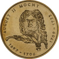 reverse of 2 Złote - August II the Strong (2002) coin with Y# 439 from Poland. Inscription: AUGUST II MOCNY 1697-1706 1709-1733