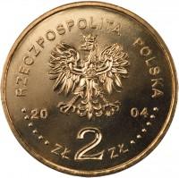 obverse of 2 Złote - Aleksander Czekanowski (2004) coin with Y# 505 from Poland. Inscription: RZECZPOSPOLITA POLSKA 2004 ZŁ 2 ZŁ