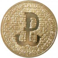 reverse of 2 Złote - Warsaw Uprising (2004) coin with Y# 496 from Poland. Inscription: 60. ROCZNICA POWSTANIA WARSZAWSKIEGO . 1944-2004 .