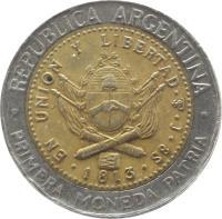 obverse of 1 Peso (1994 - 2010) coin with KM# 112 from Argentina. Inscription: REPUBLICA ARGENTINA EN UNION Y LIBERTAD · PTS · J · 8S · 1813 · · PRIMERA MONEDA PATRIA ·