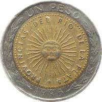 reverse of 1 Peso (1994 - 2010) coin with KM# 112 from Argentina. Inscription: UN PESO PROVINCIAS DEL RIO DE LA PLATA 1995