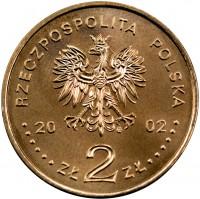 obverse of 2 Złote - Bronisław Malinowski (2002) coin with Y# 431 from Poland. Inscription: RZECZPOSPOLITA POLSKA 2002 ZŁ 2 ZŁ