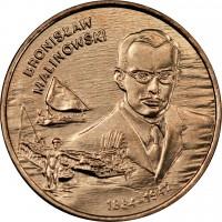 reverse of 2 Złote - Bronisław Malinowski (2002) coin with Y# 431 from Poland. Inscription: BRONISŁAW MALINOWSKI 1884-1942