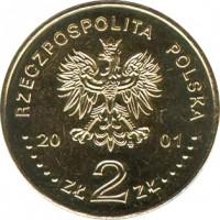 obverse of 2 Złote - Cardinal Stefan Wyszynski (2001) coin with Y# 418 from Poland. Inscription: RZECZPOSPOLITA POLSKA 20 01 ZŁ 2 ZŁ