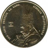 reverse of 2 Złote - Cardinal Stefan Wyszynski (2001) coin with Y# 418 from Poland. Inscription: 100-LECIE URODZIN KS. KARD. STEFANA WYSZYŃSKIEGO