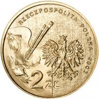 obverse of 2 Złote - Jan Matejko (2002) coin with Y# 444 from Poland. Inscription: RZECZPOSPOLITA POLSKA 2002 2ZŁ