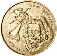 reverse of 2 Złote - Jan Matejko (2002) coin with Y# 444 from Poland. Inscription: JAN MATEJKO 1838-1893
