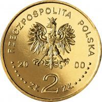 obverse of 2 Złote - December 1970 (2000) coin with Y# 404 from Poland. Inscription: RZECZPOSPOLITA POLSKA 2000 ZŁ 2 ZŁ