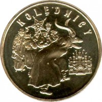 reverse of 2 Złote - Carolers (2001) coin with Y# 422 from Poland. Inscription: KOLĘDNICY