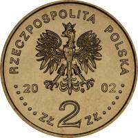 obverse of 2 Złote - Malbork Castle (2002) coin with Y# 443 from Poland. Inscription: RZECZPOSPOLITA POLSKA 2002 ZŁ 2 ZŁ