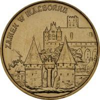 reverse of 2 Złote - Malbork Castle (2002) coin with Y# 443 from Poland. Inscription: ZAMEK W MALBORKU