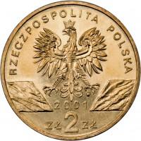 obverse of 2 Złote - Swallowtail (2001) coin with Y# 414 from Poland. Inscription: RZECZPOSPOLITA POLSKA 2001 ZŁ 2 ZŁ