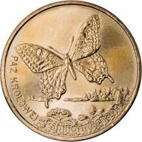 reverse of 2 Złote - Swallowtail (2001) coin with Y# 414 from Poland. Inscription: PPAŻ KRÓLOWEJ Papilio machaon
