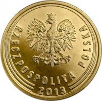 obverse of 1 Grosz (2013 - 2015) coin with Y# 923 from Poland. Inscription: RZECZPOSPOLITA POLSKA 2014