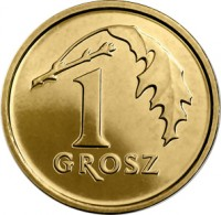 reverse of 1 Grosz (2013 - 2015) coin with Y# 923 from Poland. Inscription: 1 GROSZ