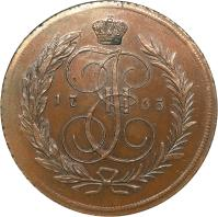 obverse of 5 Kopeks - Catherine II (1763 - 1796) coin with C# 59 from Russia. Inscription: 17 65