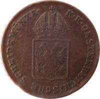 obverse of 1 Kreuzer - Franz II (1816) coin with KM# 2113 from Austria. Inscription: K · K · OESTERREICHISCHE SCHEIDMÜNZE ·