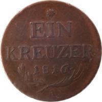 reverse of 1 Kreuzer - Franz II (1816) coin with KM# 2113 from Austria. Inscription: * EIN KREUZER · 1816 · A