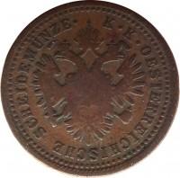 obverse of 1 Kreuzer - Franz Joseph I (1851) coin with KM# 2185 from Austria. Inscription: K · K · OESTERREICHISCHE SCHEIDEMÜNZE ·