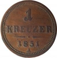 reverse of 1 Kreuzer - Franz Joseph I (1851) coin with KM# 2185 from Austria. Inscription: 1 KREUZER 1851 A