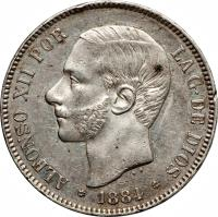 obverse of 5 Pesetas - Alfonso XII - 3'rd Portrait (1882 - 1885) coin with KM# 688 from Spain. Inscription: ALFONSO XII POR LA G · DE DIOS * 1885 *