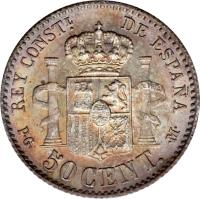 reverse of 50 Centimos - Alfonso XIII - 1'st Portrait (1889 - 1892) coin with KM# 690 from Spain. Inscription: REY CONSTL. DE ESPAÑA P · G · 50 CENT. · M.