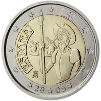 obverse of 2 Euro - Juan Carlos I - Don Quixote (2005) coin with KM# 1063 from Spain. Inscription: ESPAÑA 20 05 M