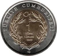 reverse of 1 Lira - Loggerhead Sea Turtle (2009) coin with KM# 1264 from Turkey. Inscription: TÜRKİYE CUMHURİYETİ 1 TÜRK LİRASI 2009