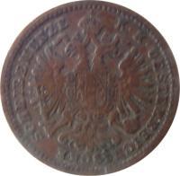 obverse of 1 Kreuzer - Franz Joseph I (1885 - 1891) coin with KM# 2187 from Austria. Inscription: K · K · OESTERREICHISCHE SCHEIDEMÜNZE