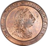 obverse of 2 Pence - George III (1797) coin with KM# 619 from United Kingdom. Inscription: GEORGIUS III · D:G · REX.