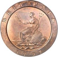 reverse of 2 Pence - George III (1797) coin with KM# 619 from United Kingdom. Inscription: BRITANNIA. 1797