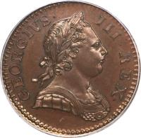 obverse of 1/2 Penny - George III (1770 - 1775) coin with KM# 601 from United Kingdom. Inscription: GEORGIVS · III · REX ·