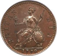reverse of 1/2 Penny - George III (1770 - 1775) coin with KM# 601 from United Kingdom. Inscription: BRITAN NIA · 1772