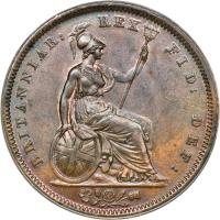 reverse of 1 Penny - George IV (1825 - 1827) coin with KM# 693 from United Kingdom. Inscription: BRITANNIAR: REX FID: DEF: