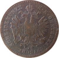 obverse of 1 Kreuzer - Franz Joseph I (1858 - 1881) coin with KM# 2186 from Austria. Inscription: K · K · OESTERREICHISCHE SCHEIDEMÜNZE